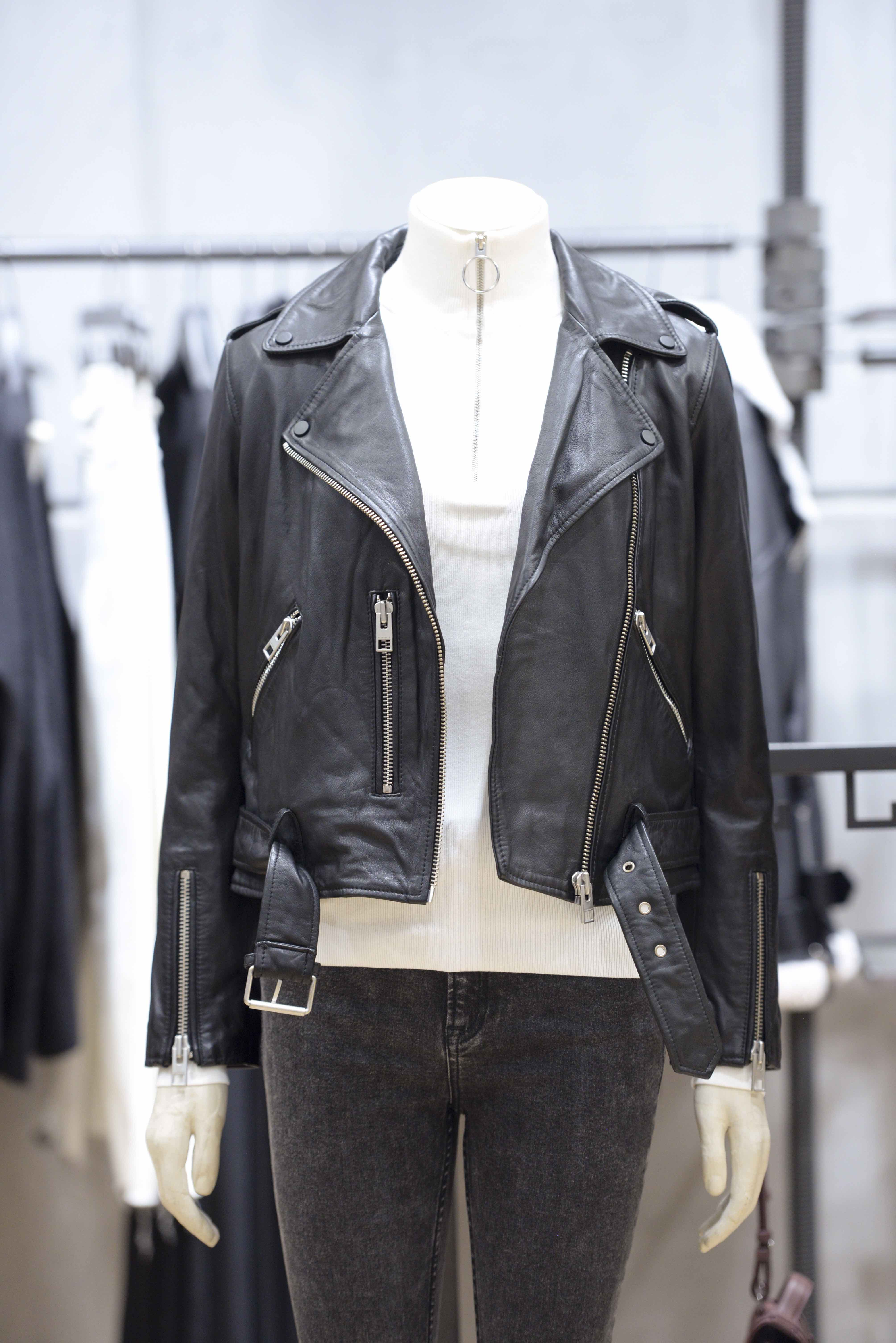 2af4a38d74 AllSaints signature moto- leather jacket. (Custom engraving of leather was  available and guests were able to have their leather clothing or  accessories ...